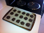 Cocoa oat cookies setting