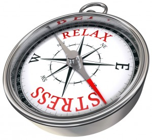 """Compass showing """"relax"""" and """"stress"""" in place of north and south"""
