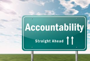 """Highway sign that says """"Accountability Straight Ahead"""""""